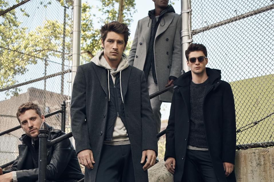 Vinnie Woolston, George Barnett, Matthew Bell y David Agbodji in the new campaign for Mango Man